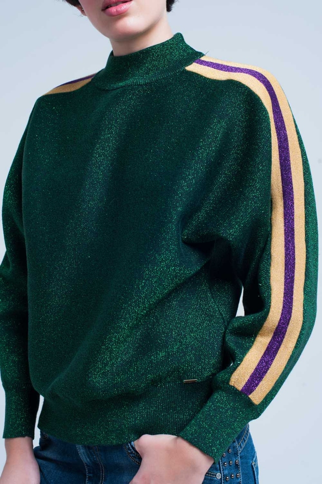 Green Glitter Mock Neck Sweater with Side Stripes
