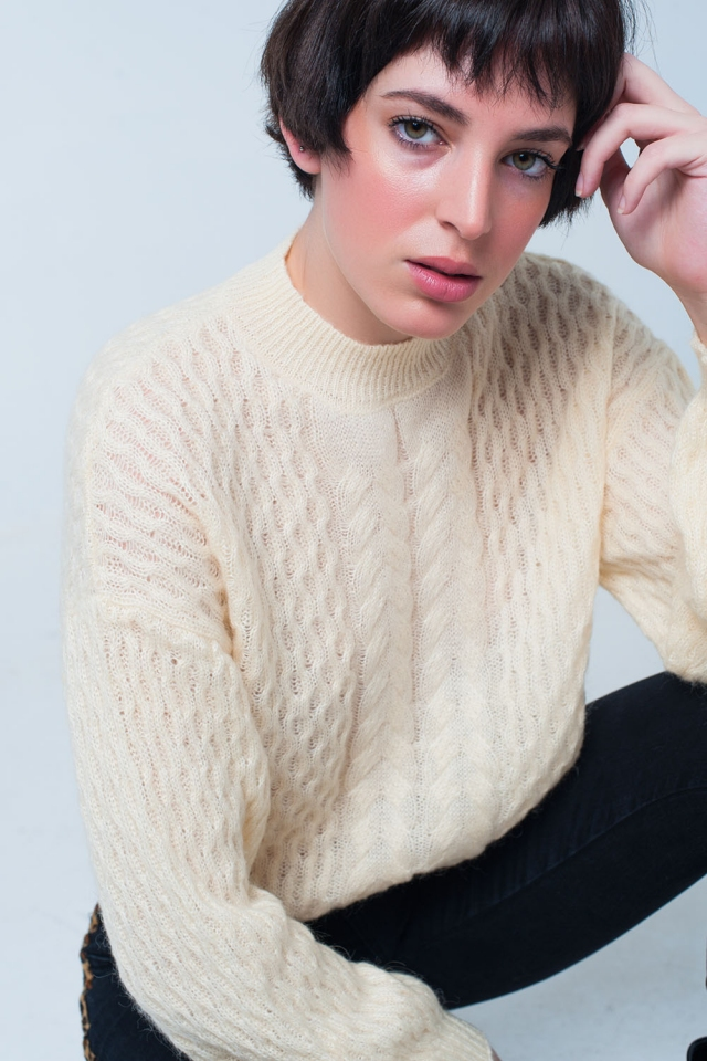 Yellow Cable Knitted Sweater With Round Neck