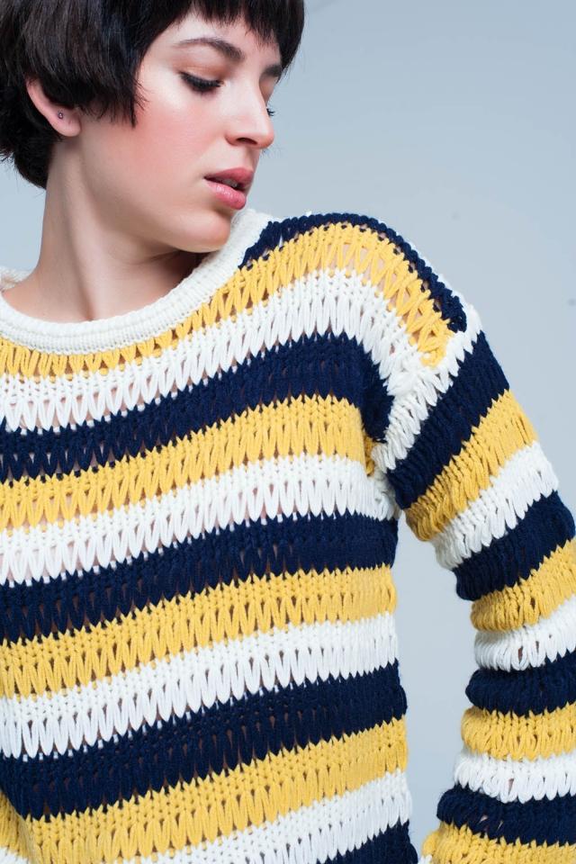 Mustard Striped Drop Stitch Knit Sweater