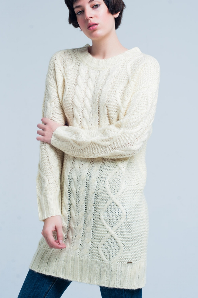 Yellow Cable Knitted Mini Dress