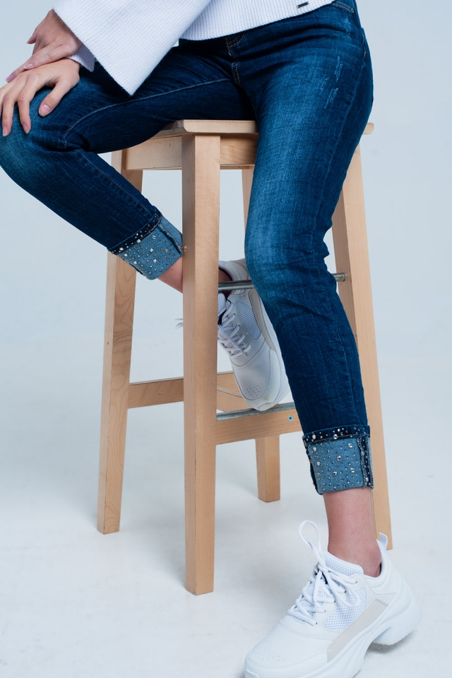 Dark Wash Jeans with strass Ankle Details