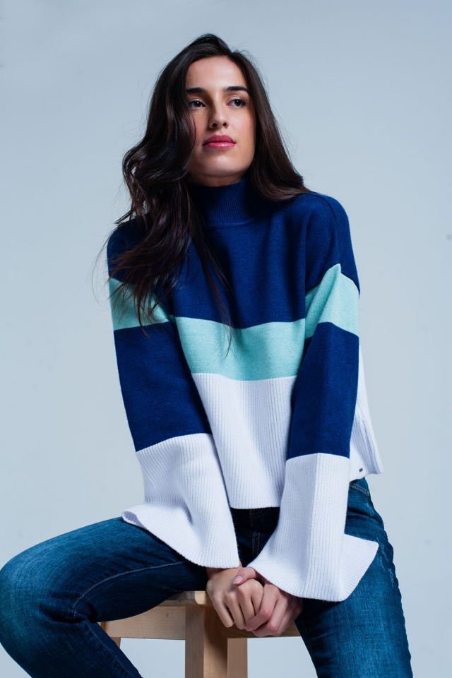 Blue Striped turtleneck Sweater