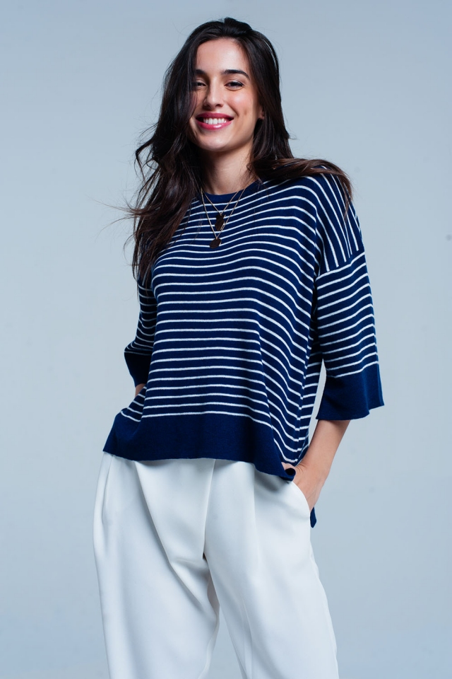Navy Striped Oversized Sweater