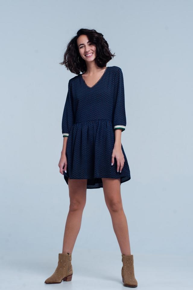 Dunkelblaues Midi-Kleid mit V-Ausschnitt und Aufdruck