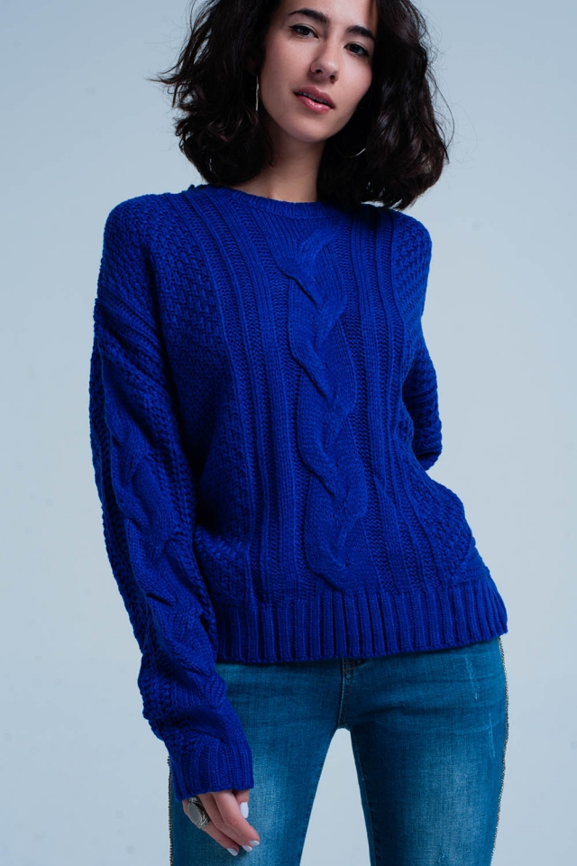 Blue Cable Knit Sweater with Round Neck
