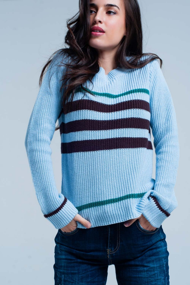 Blue Rib Stitch Sweater with Stripes
