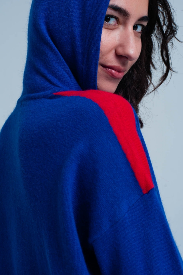 Blue knitted Hoodie with red Side Stripes