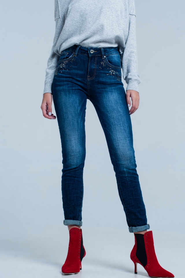 Dark Wash high waist Jeans with Rhinestone Details
