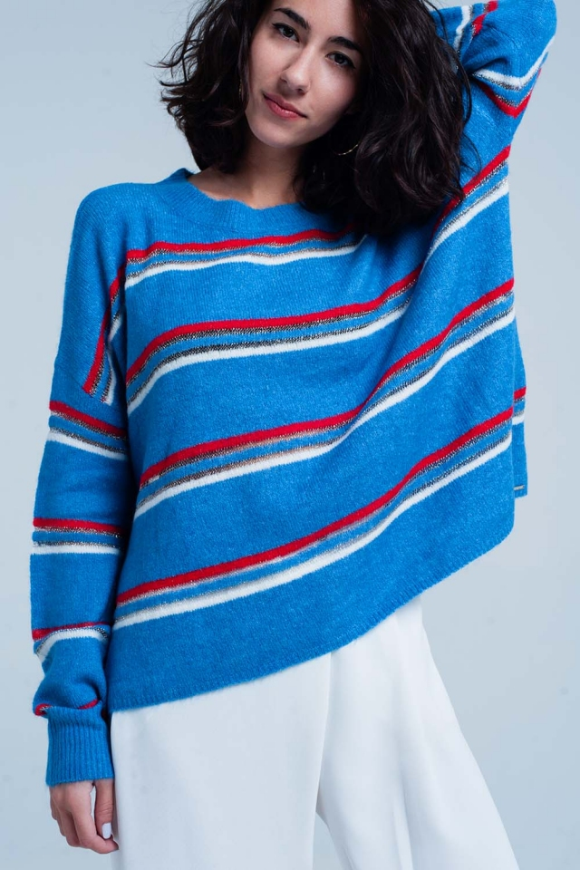 Blue sweater with red Striped