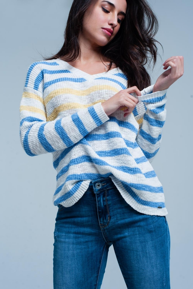 Blue Striped V-neck Sweater