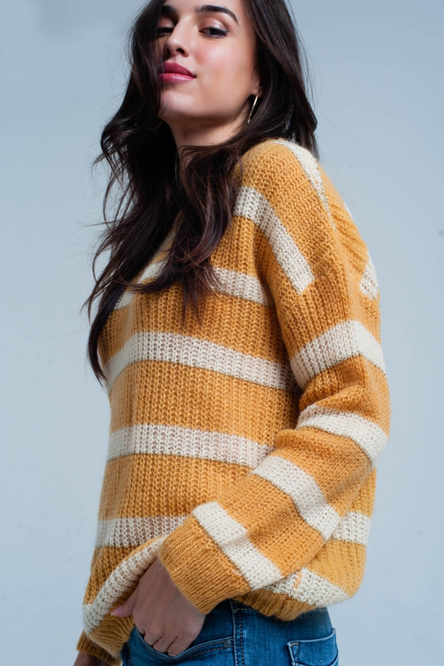 Yellow Striped mohair Sweater with Lurex