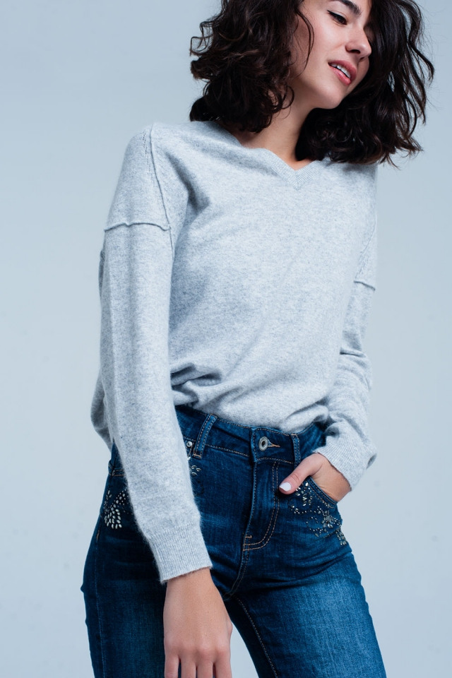 Grey Angora V-Neck Sweater