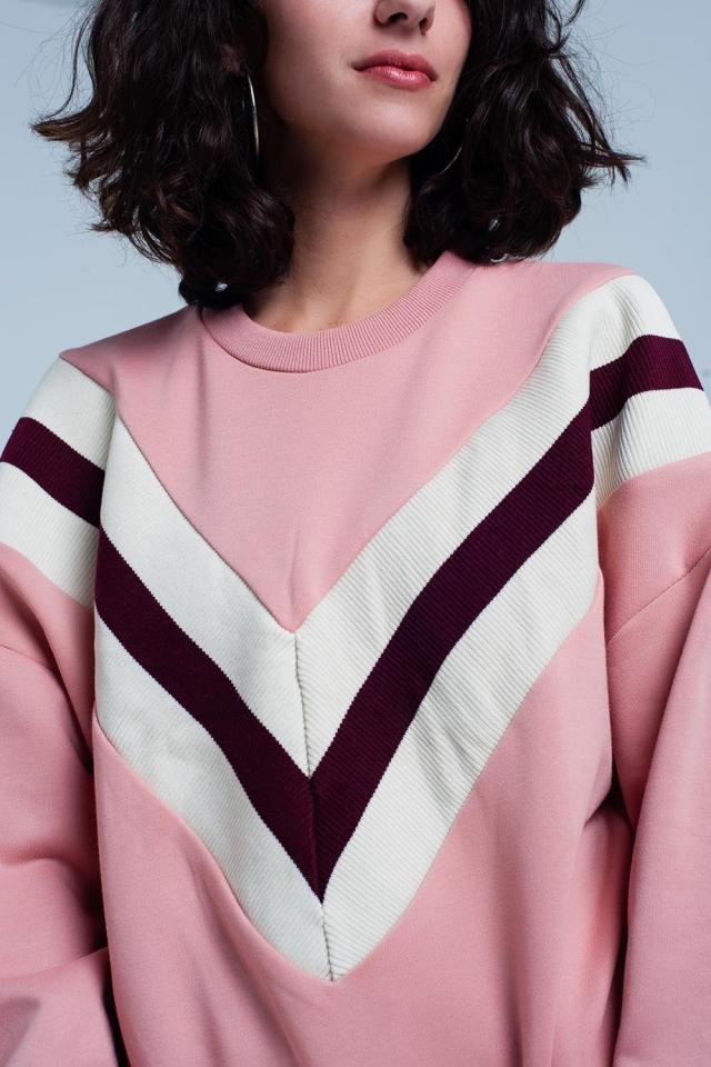 Rosafarbenes Sweatshirt mit gestreiftem V-Muster