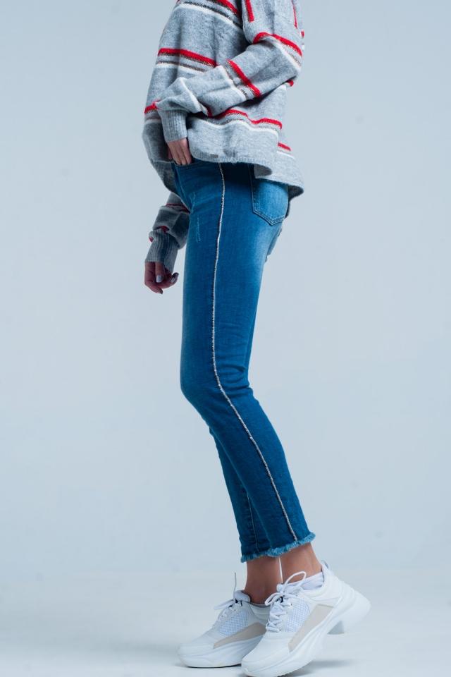 Skinny-Jeans mit Fransen und Strass-Seitenstreifen
