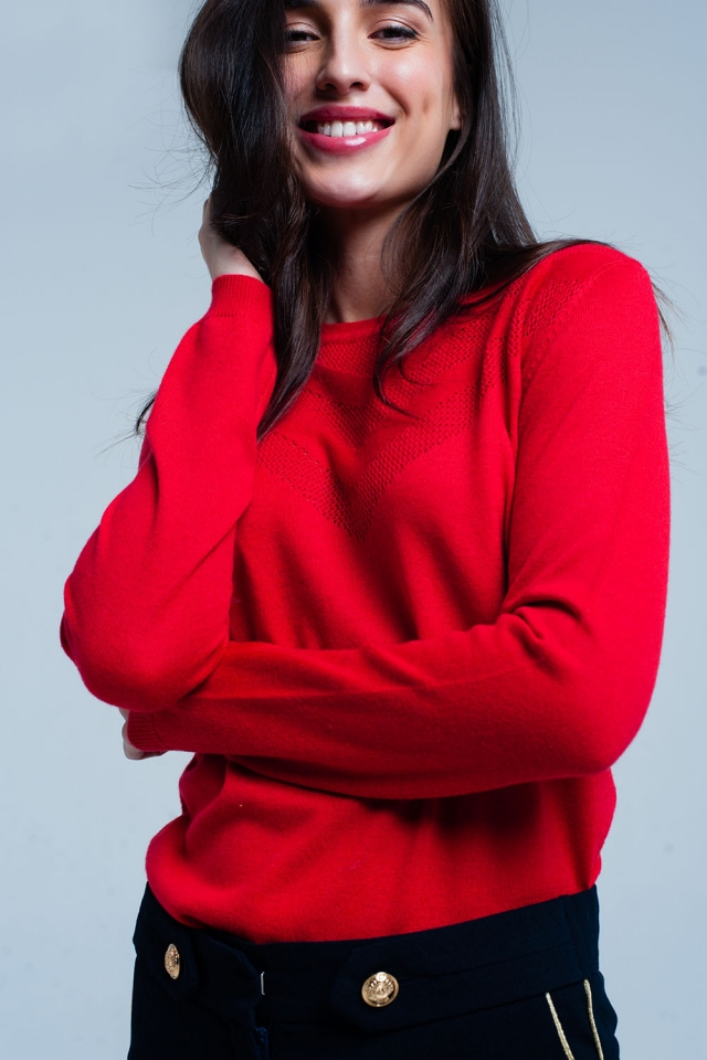 Red Woolen Sweater with Textured Detail