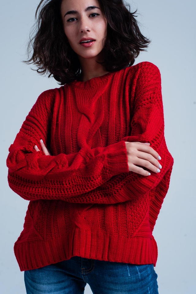 Red Cable Knit Sweater with Round Neck