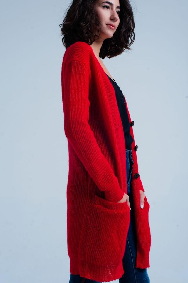Langärmlige rote Strickjacke mit Taschen