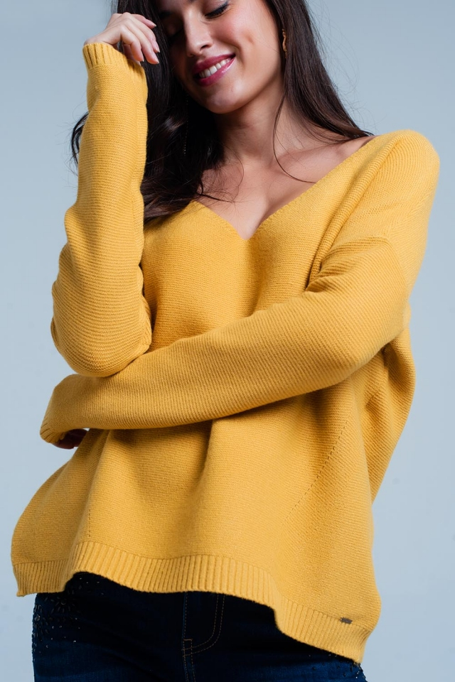 Mustard Soft Knit V-neck Sweater