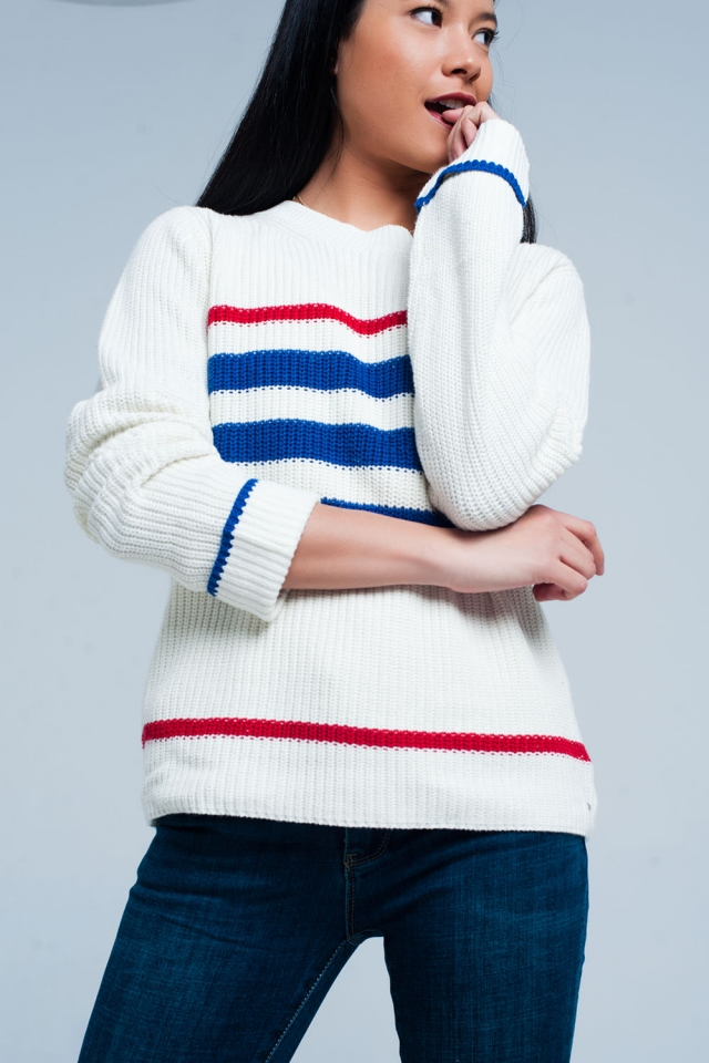 Beige Rib Stitch Sweater with Stripes