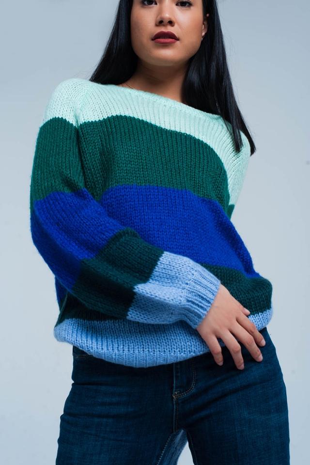 Green Striped Oversized Sweater