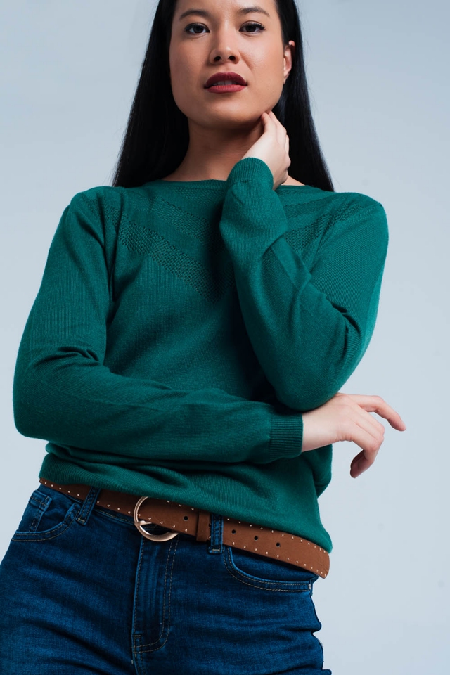 Green Woolen Sweater with Textured Detail