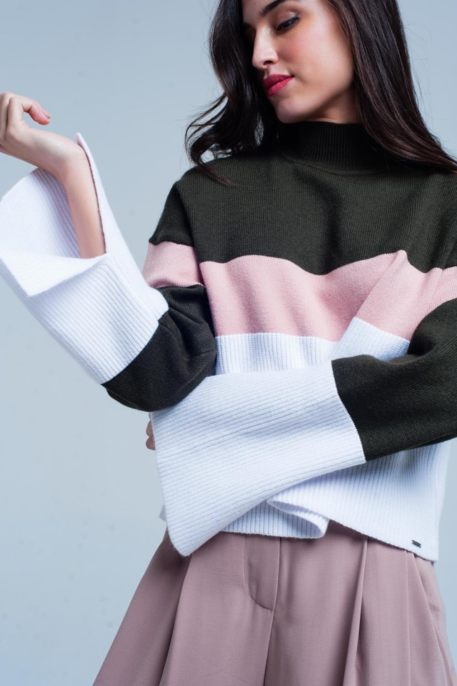 Green Striped High Neck Sweater