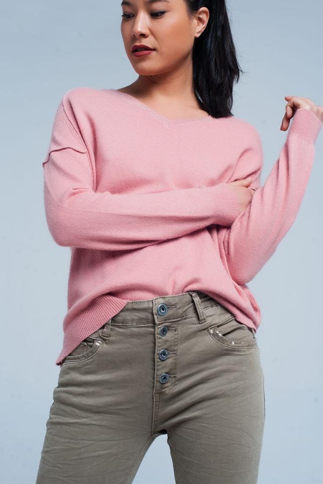 Rosa Angora-Pullover mit V-Ausschnitt