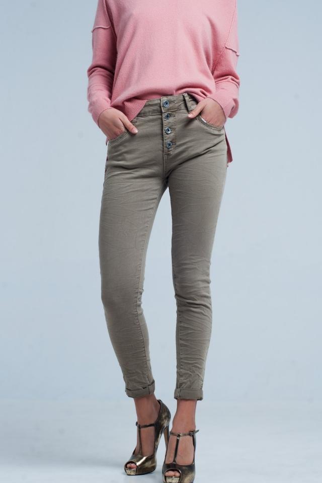 Kaki Boyfriend Jeans mit Pailletten