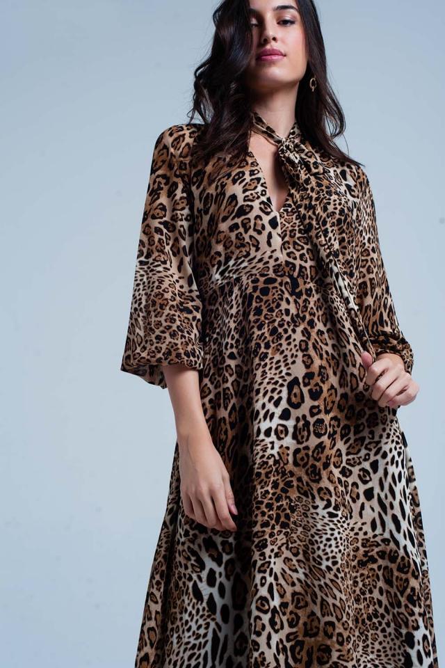 Braunes maxikleid in Leopard print