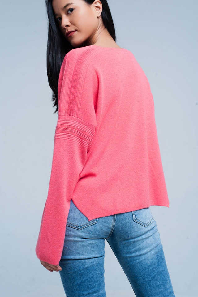 Coral Fine Knitted Sweater with Glitter Details