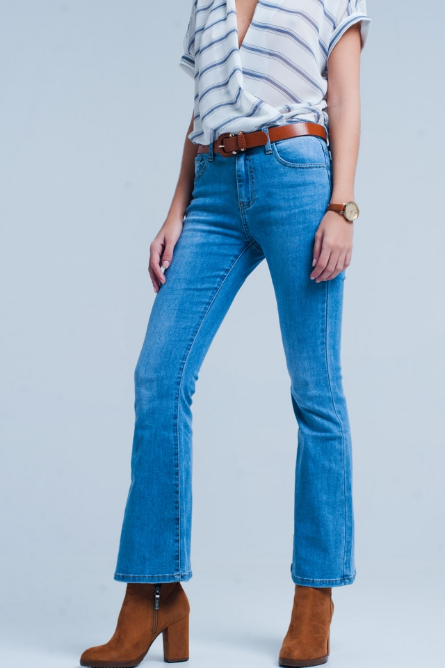 flare jean in mid blue wash