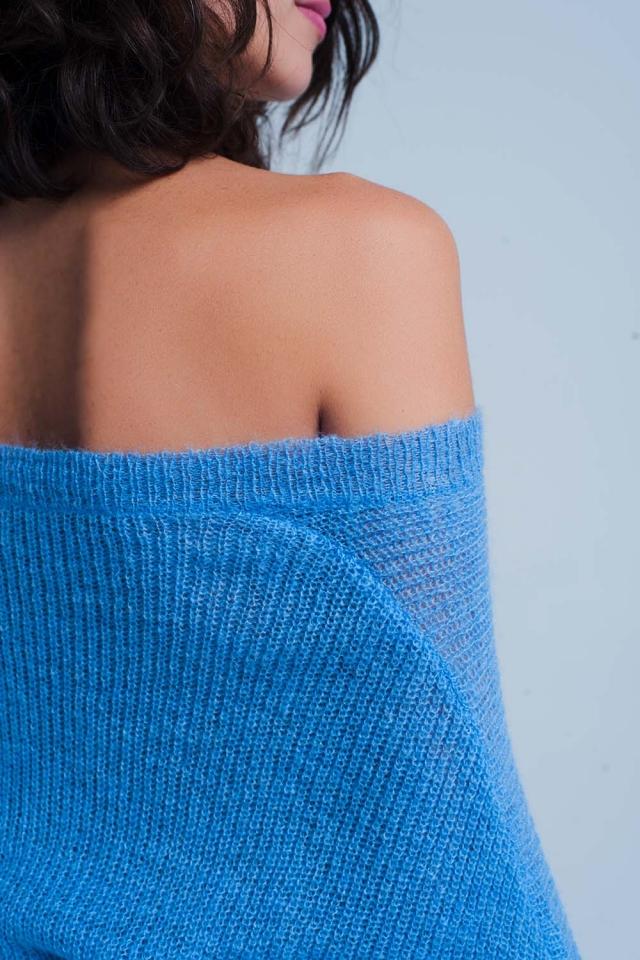 Blauen Pullover mit V-Ausschnitt