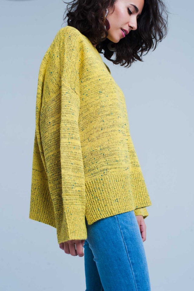 mustard relaxed sweater in flecked knit