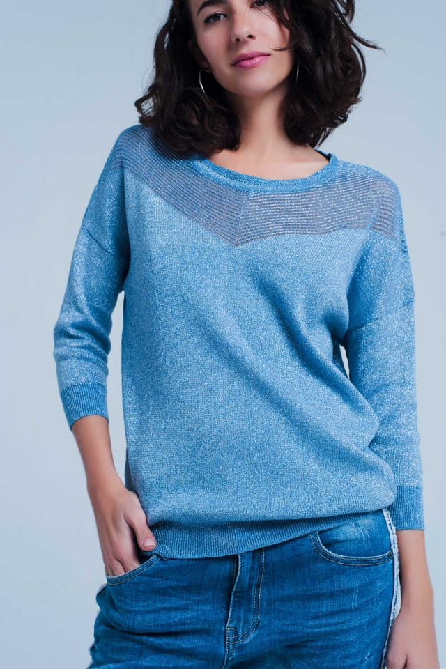 Blau Strickpullover in Metallic-Look