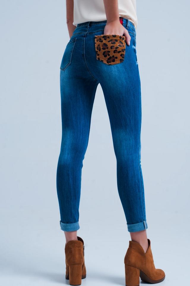 Skinny jeans mit Leopard Tasche detail