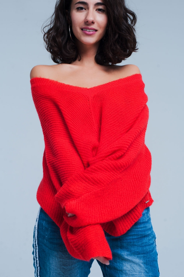 Red V Neck Knitted Sweater