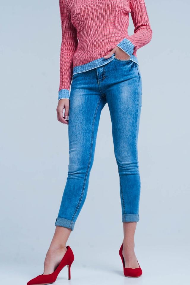 Mittlere Wäsche Skinny Jeans mit Leopardenmuster