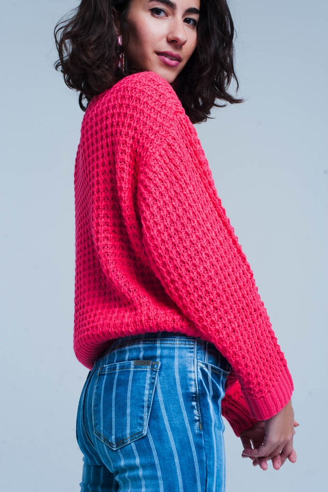 Fuchsia Grob gestrickter Pullover mit Waffelmuster