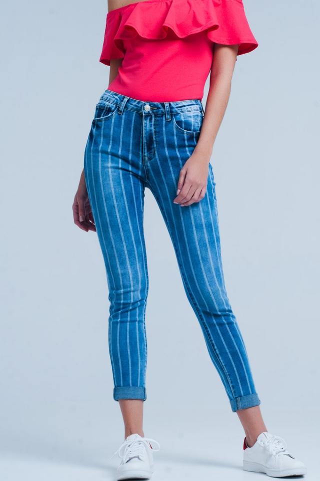 Skinny Jeans mit Licht waschen Streifen