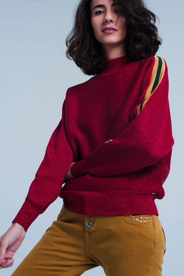 Maroon Glitter Mock Neck Sweater with Side Stripes