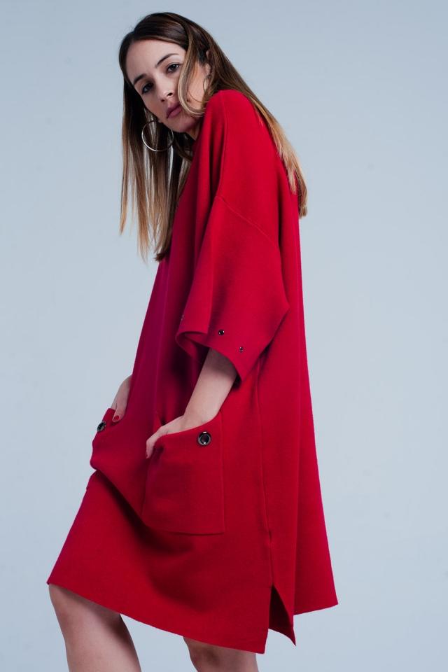 Roten Strickkleid mit Taschen