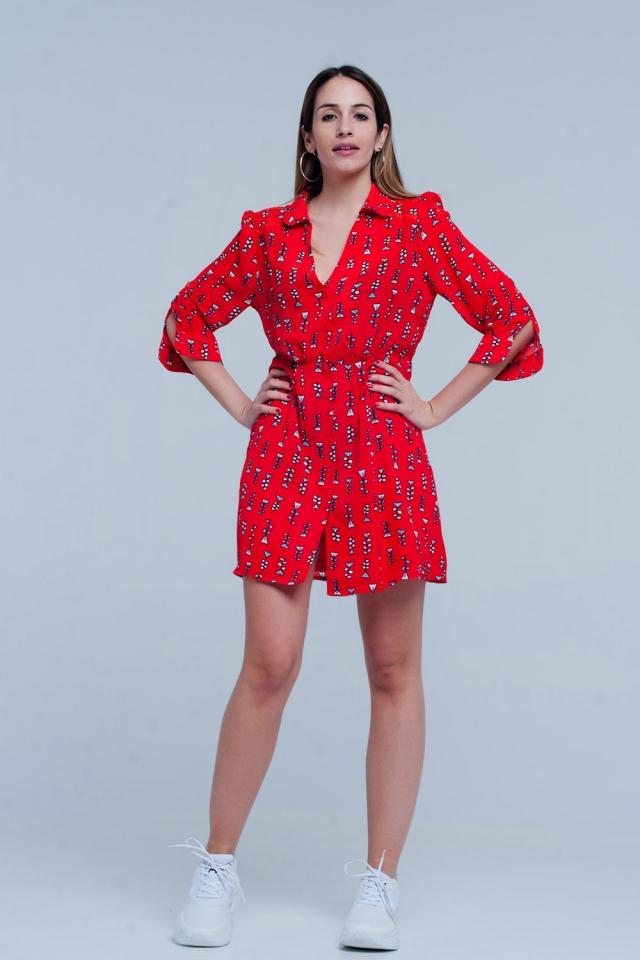 Rot gedruckt Kleid mit V-Ausschnitt mit Kragen