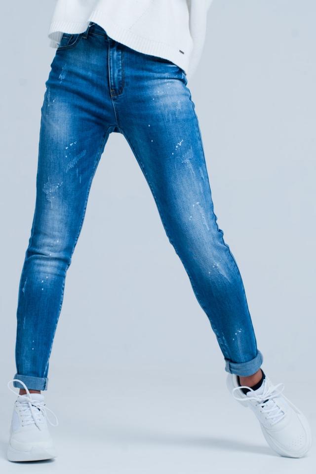 Dunkel gewaschen Riss Skinny-Jeans und Bleich-Effekt