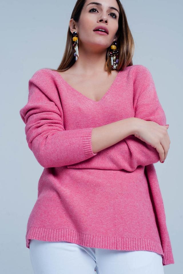 Rosa Grobstrickpullover mit V-Ausschnitt