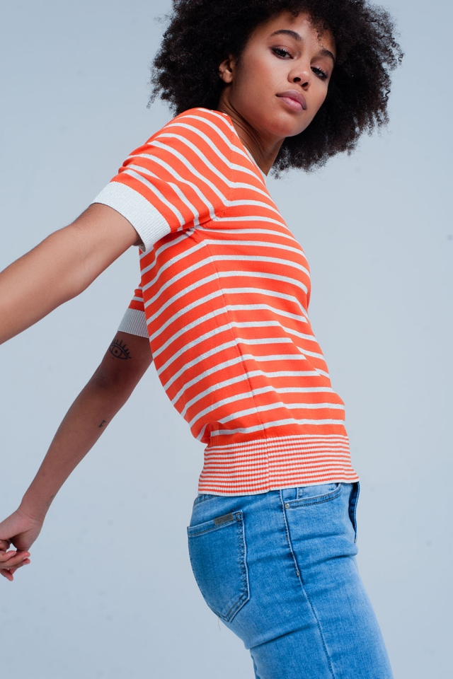 Short Sleeve Orange Striped Glitter Sweater