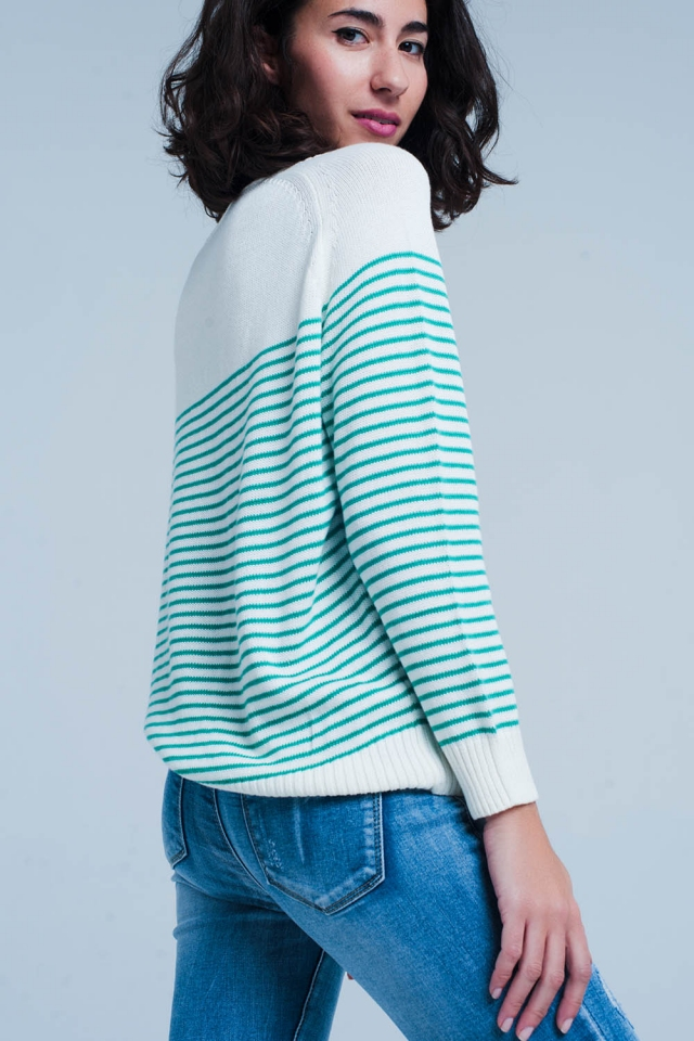 Green Striped Sweater with Cherry Pin