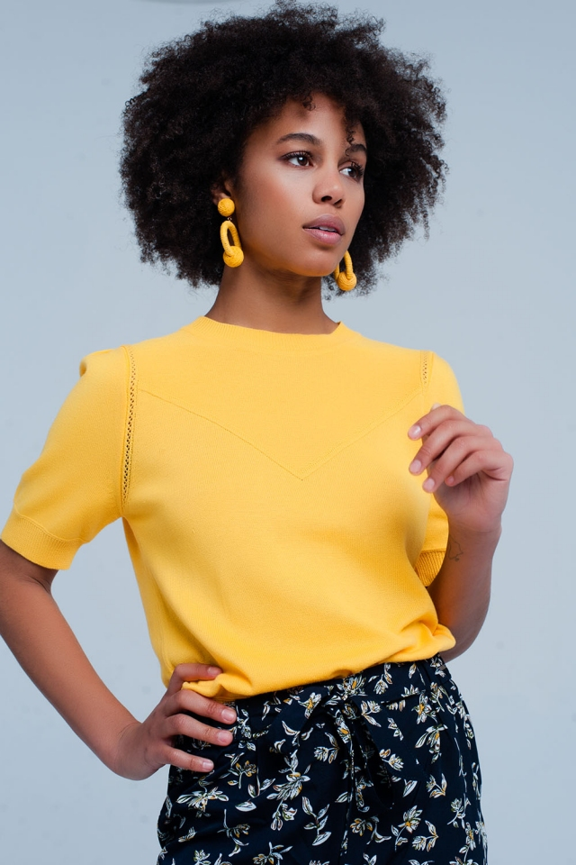 Yellow Short Sleeve Sweater with Detailed Seams
