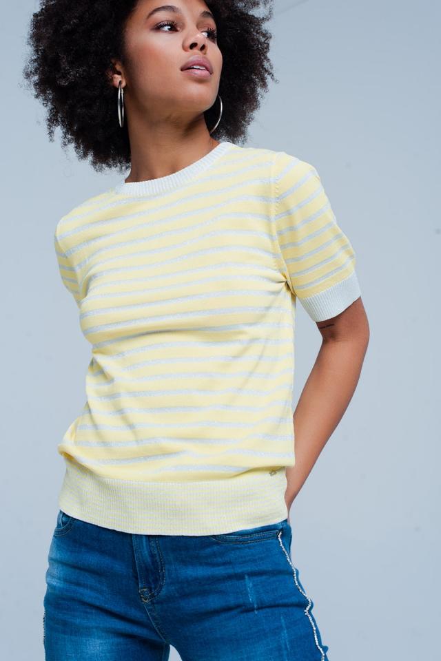 Kurzarm-Gelb Pullover mit glitzernden Streifen
