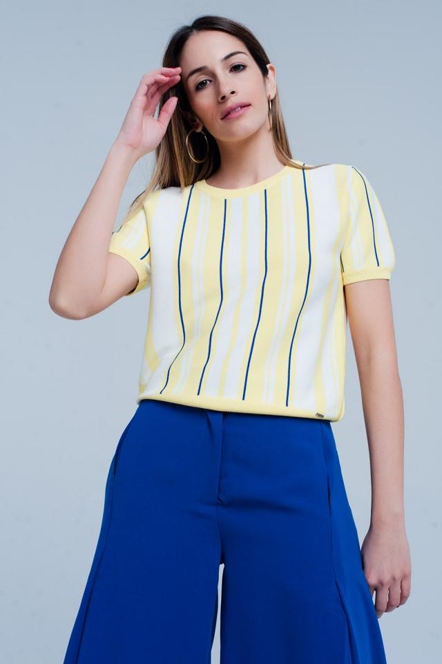 Gelb gestreiftes Kurzarm Pullover
