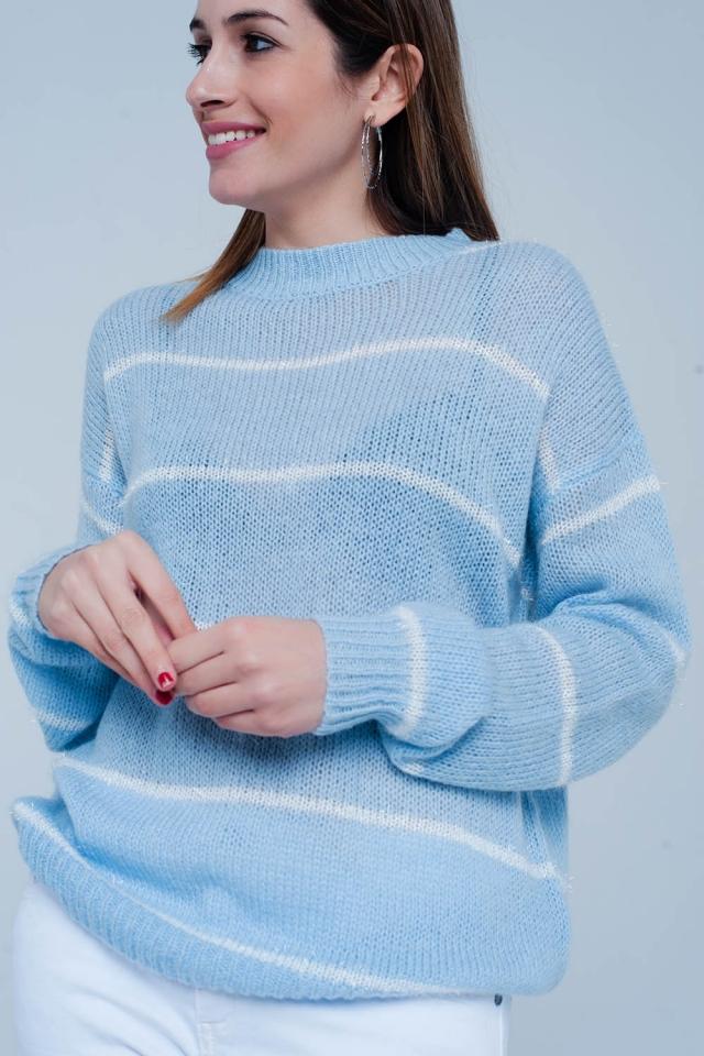 Blau gestreifte Runde Hals Pullover